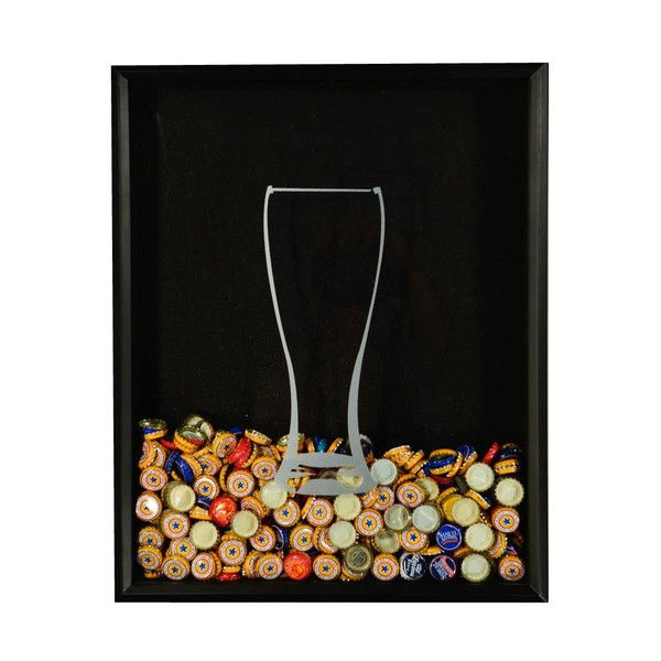 Beer cap collector shadow box set beer and wine glass for Beer bottle picture frame