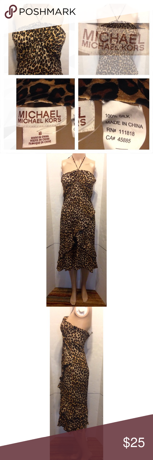 Michael Michael Kors leopard halter dress Tie neck halter dress. Leopard print  asymmetrical Ruffles on lower half. Side zipper , 100% silk Good condition MICHAEL Michael Kors Dresses Backless