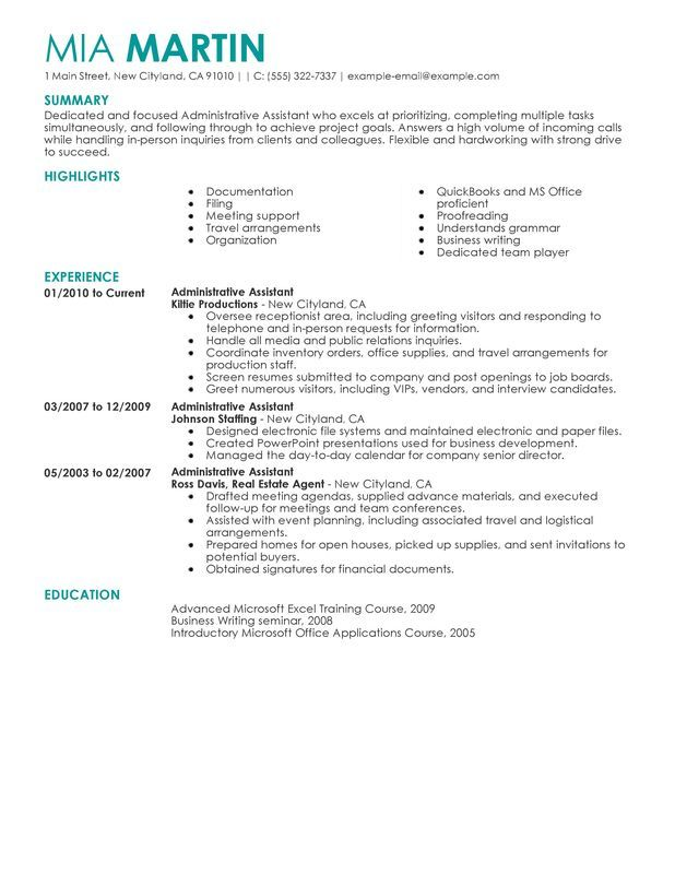 Administrative Assistant Resume Sample DIY Pinterest - executive receptionist sample resume