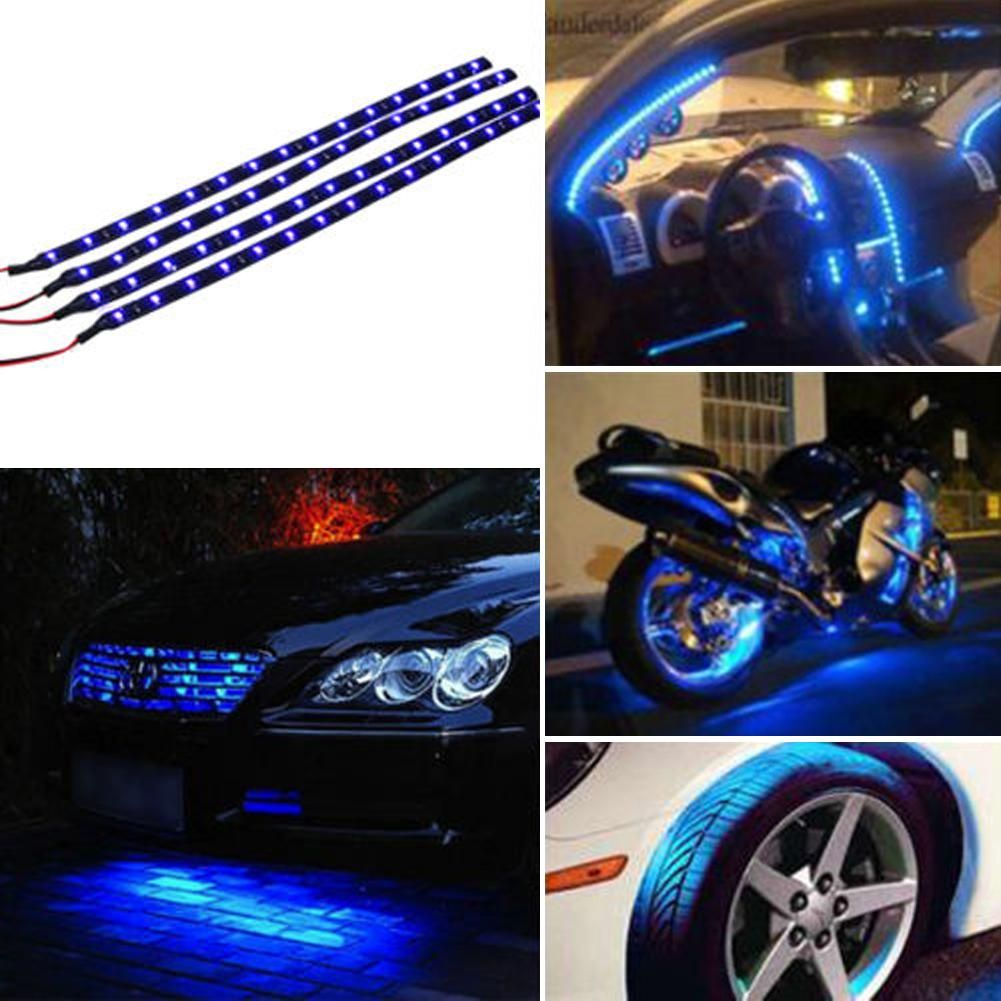Car Blue Led Flexible Strip Light Lamp Car Lights Remote Control Motorcycles Waterproof Car