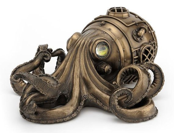 "9/"" Tall Bronze Finish Octopus Attacking Ship Collectible Figurine Statue Fantasy"