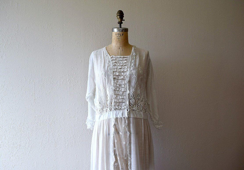 8db25fc25ef White Edwardian dress . vintage 1910s 1920s antique dress by BlueFennel on  Etsy https