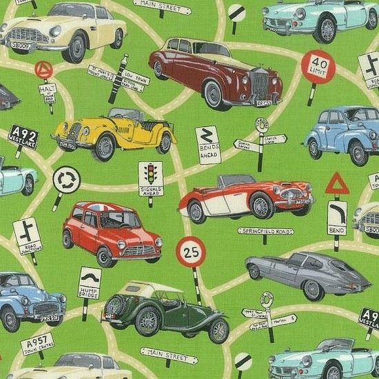 Classic Cars 100% Printed Cotton Fabric. £11.95/m. #FathersDay #Cars #Fabric