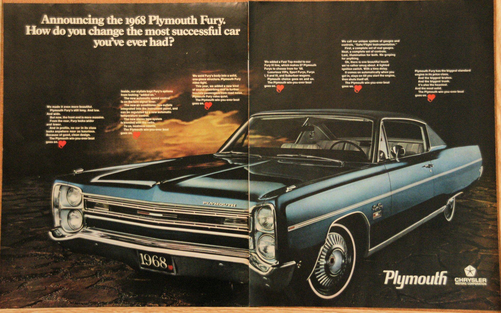 1968 Plymouth Fury Vintage 2 Page 10x13 Original Car Ad Plymouth Fury Plymouth Car Ads