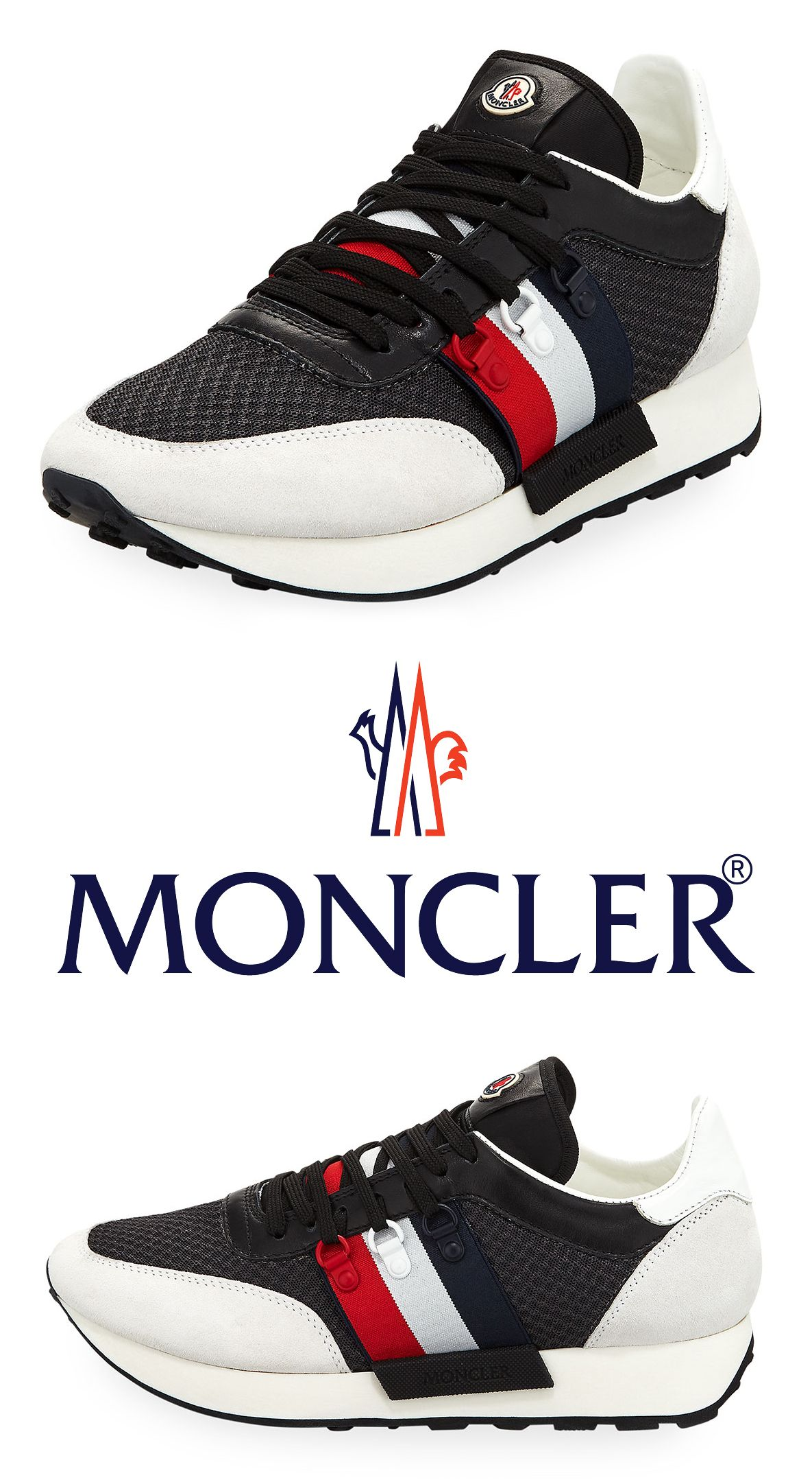 b29e207b7 Moncler New Horace Leather   Nylon Trainer Sneaker