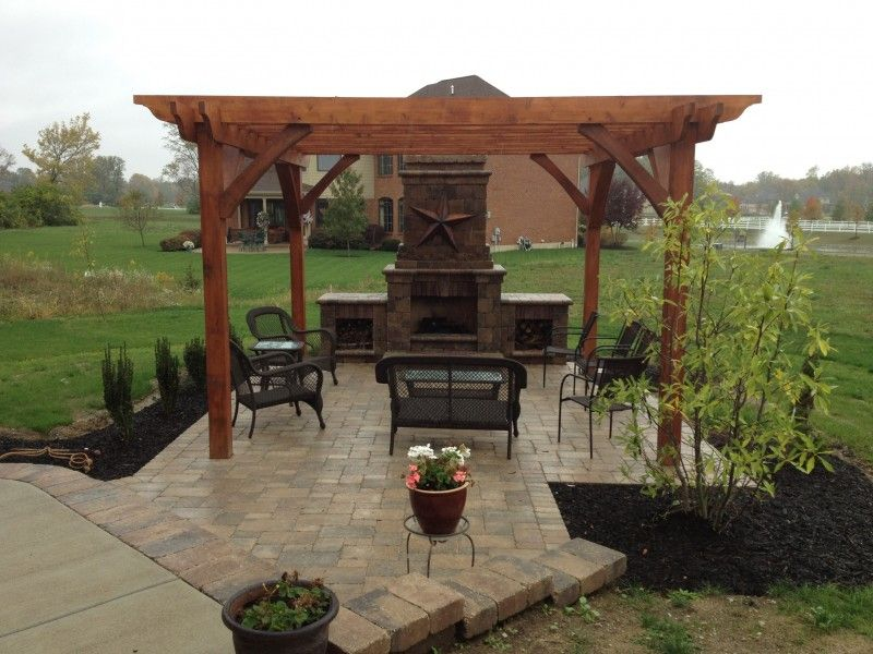 Fireplace and pergola designs paver patio pergola for Outdoor gazebo plans with fireplace
