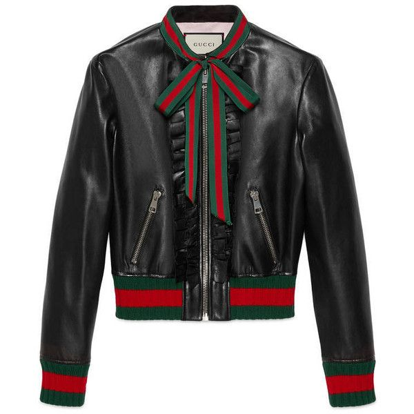 Gucci Ruffle Leather Bomber Jacket (€3.205) ❤ liked on Polyvore featuring outerwear, jackets and black