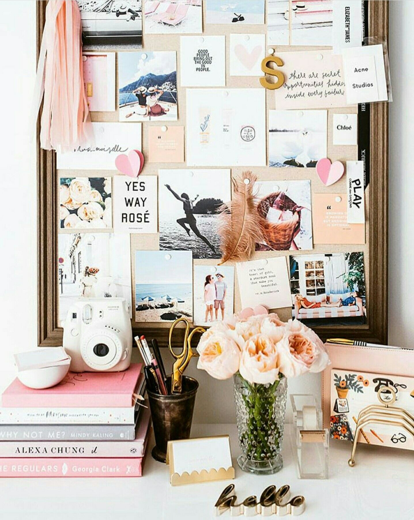 Office Pin Board   Cute Pink Office Space And Organization Wall