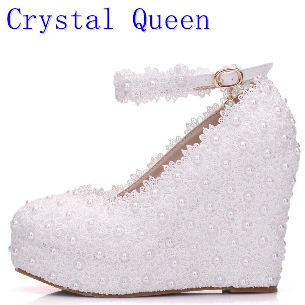 Crystal Queen White Wedges Wedding Pumps Sweet White Flower Lace Pearl  Platform Pump Shoes Bride Dress High Heels  mermaidbridalgowns  bridalgowns  ... 6b15f495ac6c