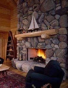 giant fieldstone fireplace | Love these large stones - great rock fireplace! | River ...