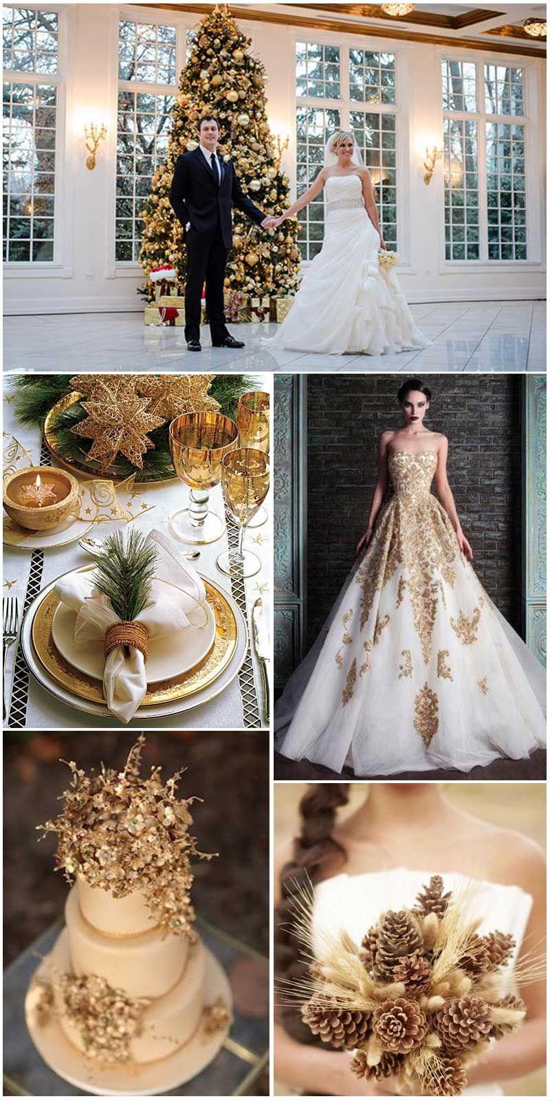paleta de cores branco e dourado para casamento no Natal