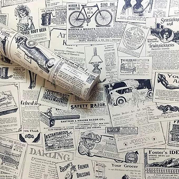 Lependor 17 71 X 118 Vintage Newspaper Self Adhesive Paper Peel Stick Wallpaper For Bedroom Livingroom Decor 1 Drawer Liner Vintage Newspaper Vinyl Paper