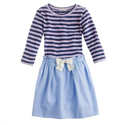 6b6b43240f88 Navy and white striped dress with light blue bottom and bow detail ...