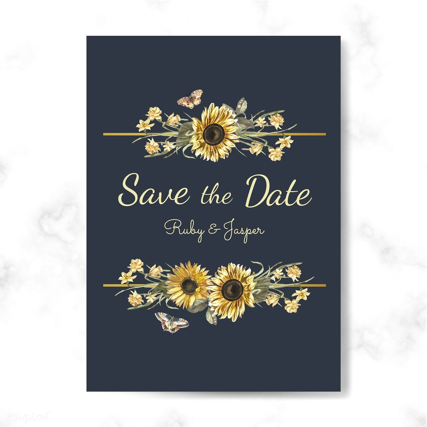 Save the date wedding invitation mockup vector free