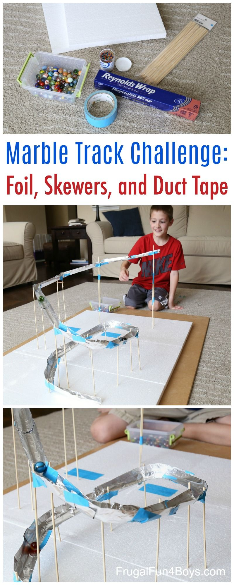 Stem Challenge For Kids Build A Marble Track With Foil Bamboo Skewers And Duct Tape Frugal Fun For Boys And Girls Stem Challenges Marble Tracks Building For Kids
