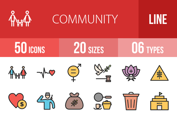 50 Community Line Filled Icons by IconBunny on @creativemarket