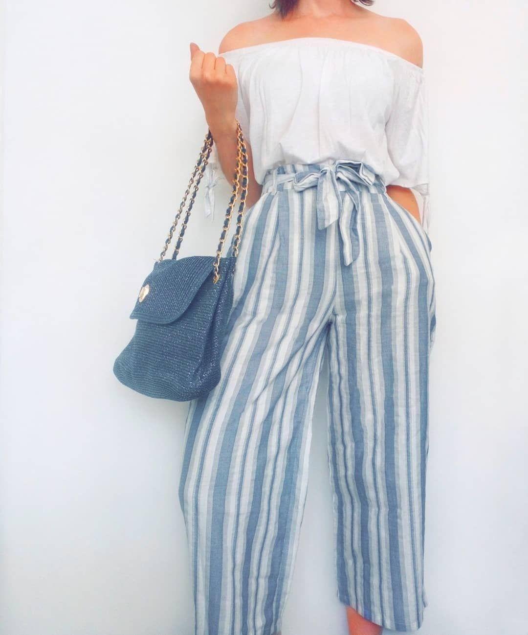 21b3b23cf8 Striped stripe high waisted paper bag tie waist wide leg trousers tie  sleeve white bardot top