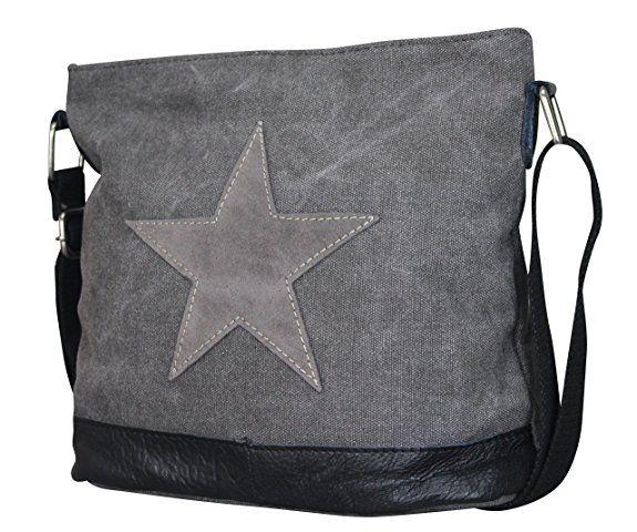 5d3dd38267187 Damen Stern Handtasche Schultasche Clutch TOP TREND Tragetasche  (Schwarz Grau Modell 3)