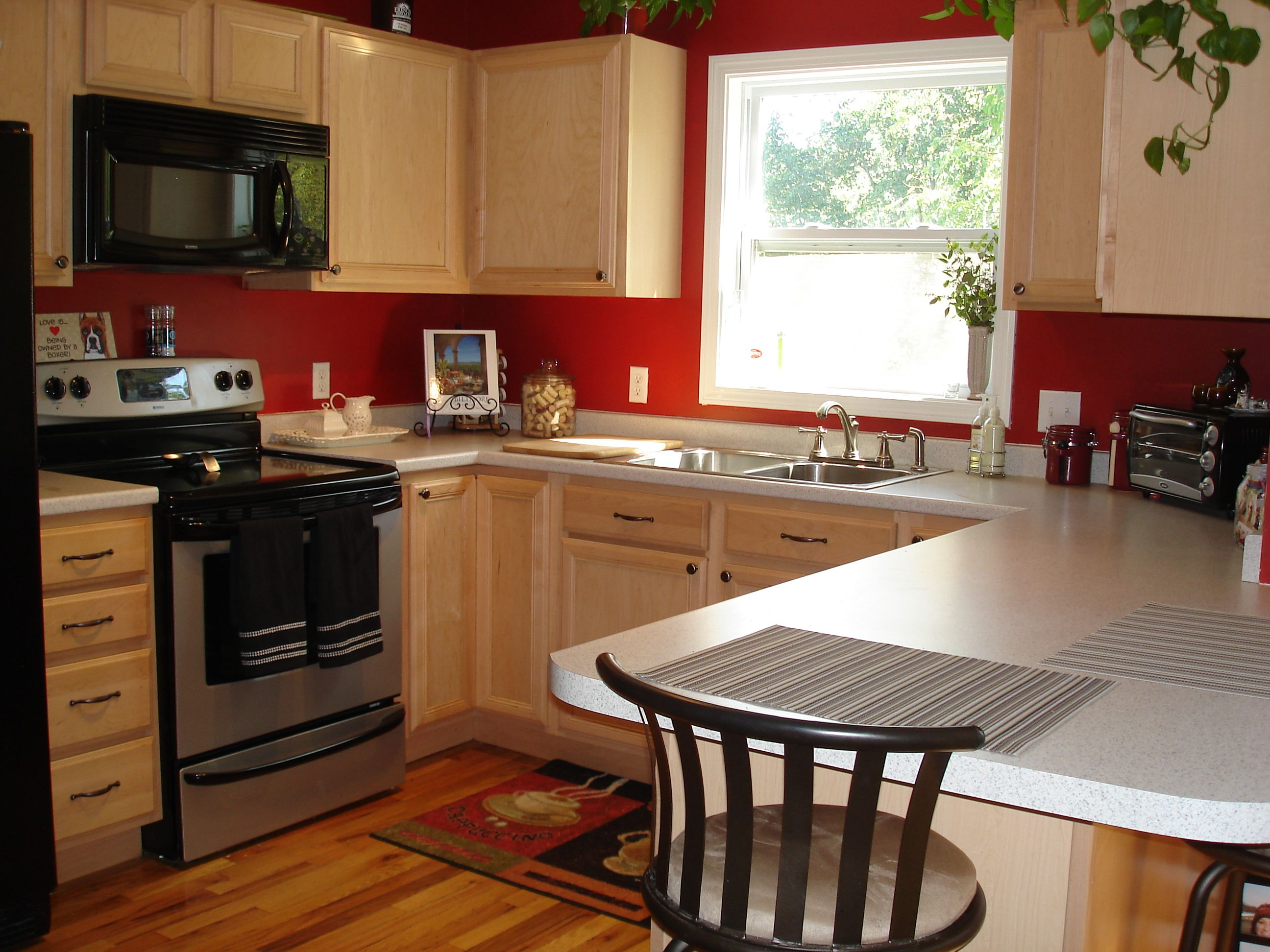 Red Colour Wall: Colored Cabinets, Kitchens And Kitchen Colors