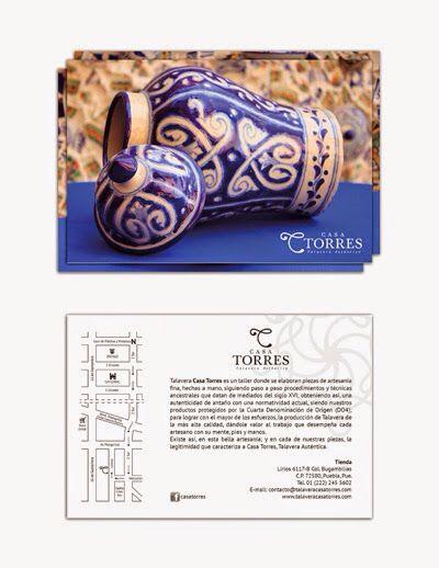 """Diseño de marca para """"Casa Torres, Talavera Auténtica"""". Taller donde se elaboran piezas de artesanía fina, hechas a mano, siguiendo paso a paso procedimientos ancestrales de mediados del siglo XVI. Lirios 6117-B Col. Bugambilias C.P. 72580, Puebla, Pue."""