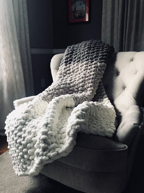 Chunky Knit Blanket - Gray & Ivory Bedd - Diy Crafts