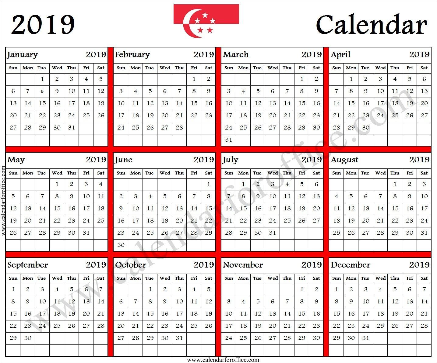 2019 Calendar Singapore Printable 2019 Calendar Calendar Template Printable