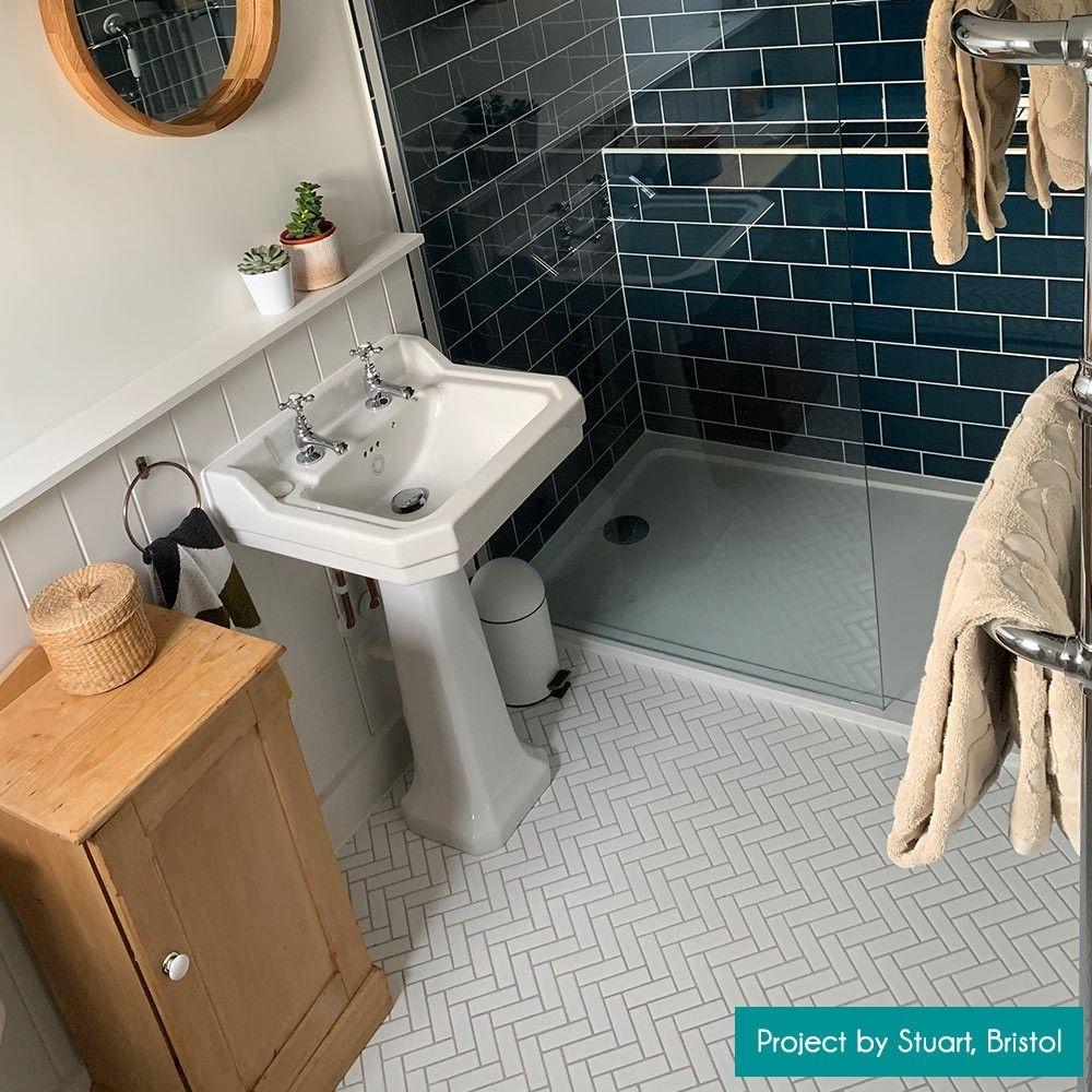 White Matt Herringbone Mosai Herringbone mosaic tile