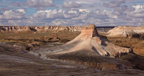 Unique landscape of the Ustyurt Plateau - a desert and a plateau located in the west of Central Asia (Kazakhstan, Turkmenistan, and Uzbekistan)