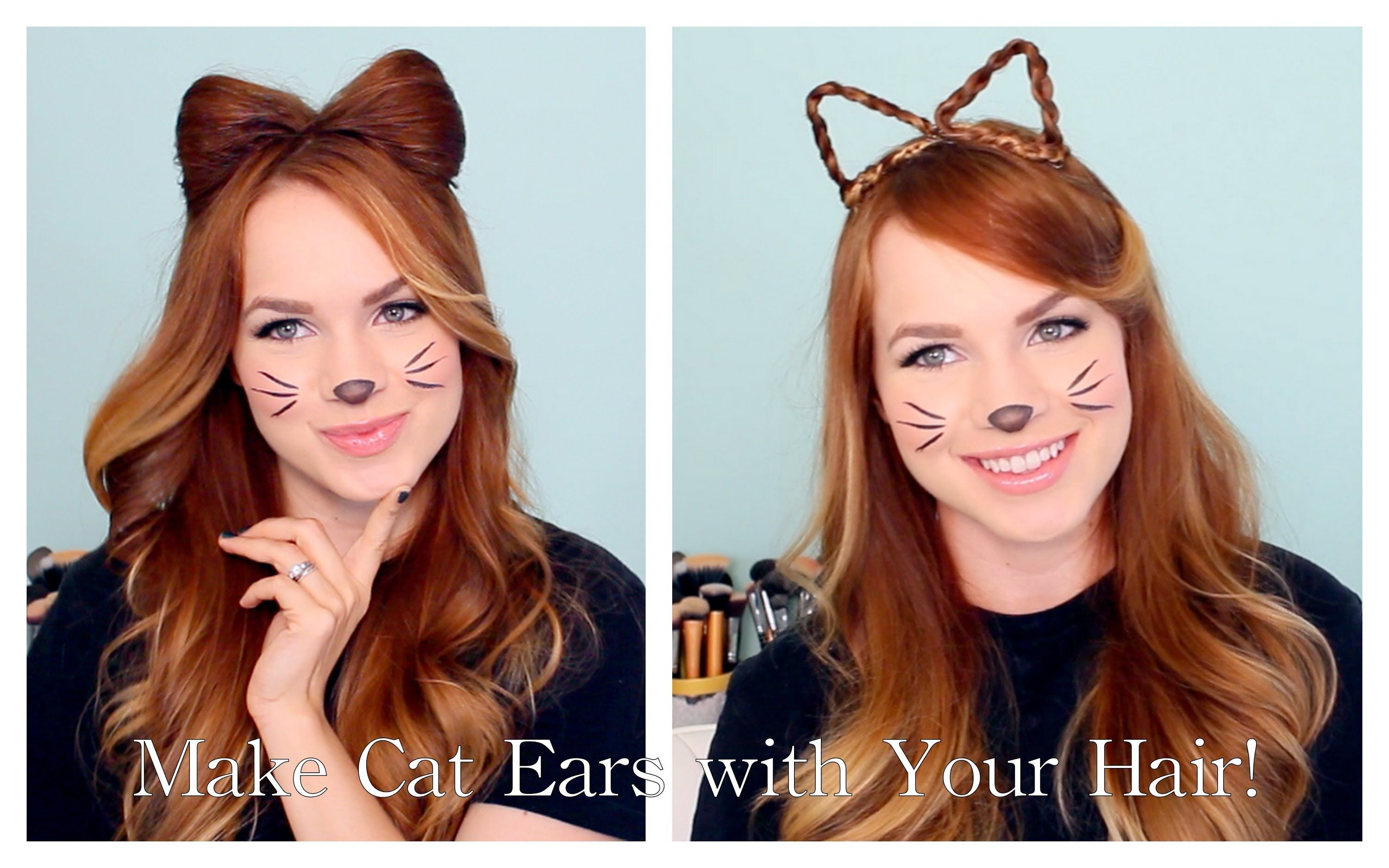 Is It Not The Cutest 2 Ways To Make Cat Ears With Your Hair A Great Quick And Cute Halloween Costume Option Halloween Hair Wacky Hair Kids Hairstyles