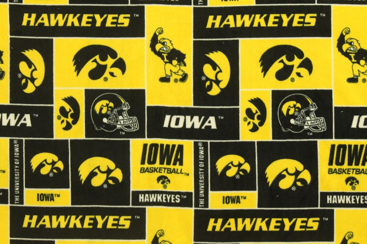 Ncaa university of iowa hawkeyes fleece fabric by the yard