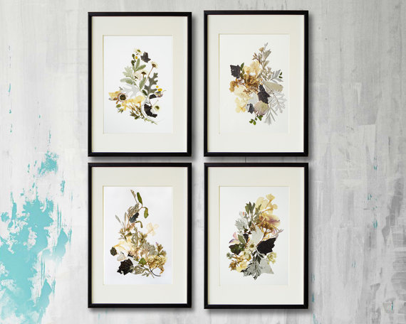 c6e57ae1542 Set of 4 framed prints Plant art Contemporary art Dry flower Herbarium  Pressed flowers framed Floral