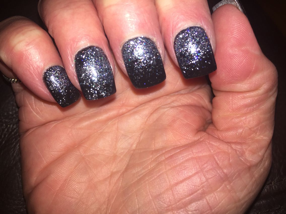 MY Black & silver glitter ombré nails. Done 1/16/16 at Unique Nails ...