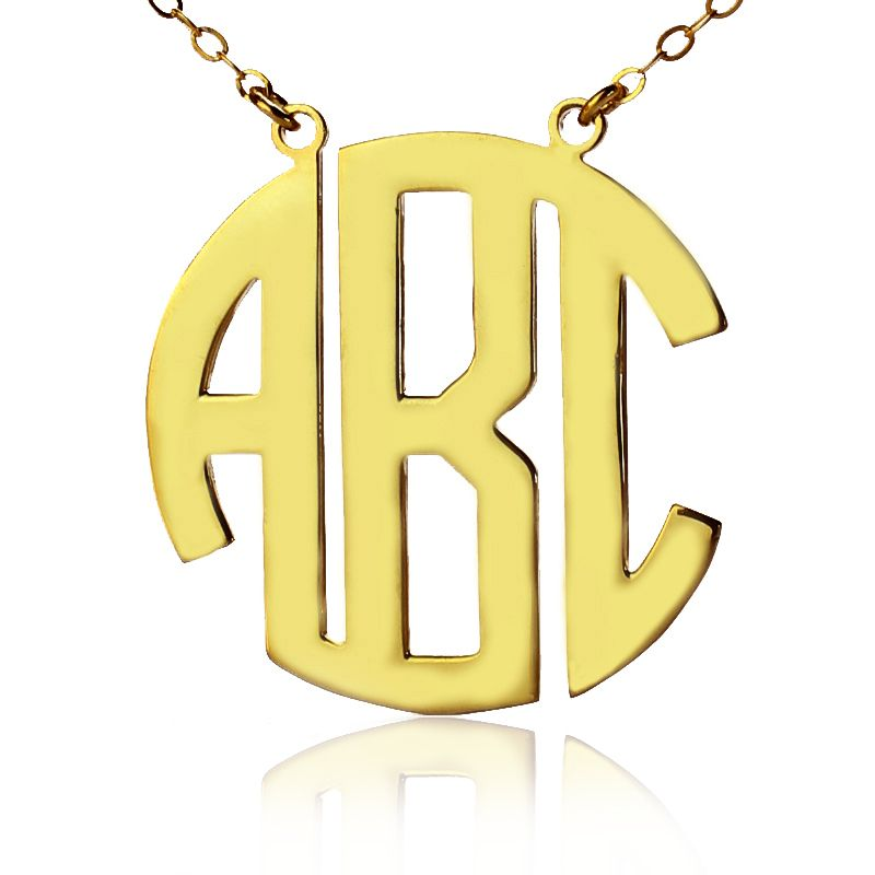 Block Monogram Necklace Monogram Necklace Gold Monogram Initial Necklace Monogram Pendant Necklace