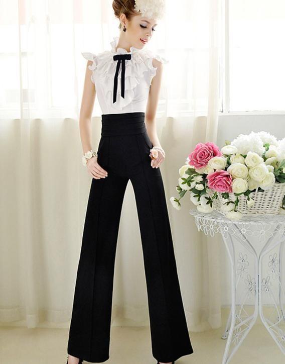 a688f38b94 Mujeres de moda de cintura alta Flare Pierna Ancha Largo Vintage Pantalones  Palazzo Pantalones