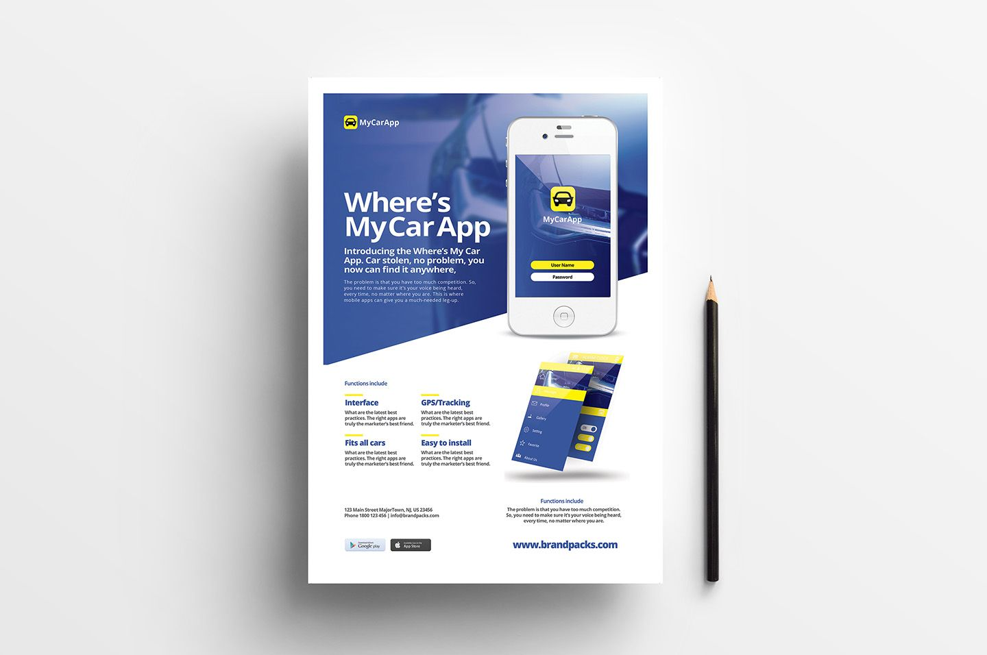 Free Mobile App Poster Template for