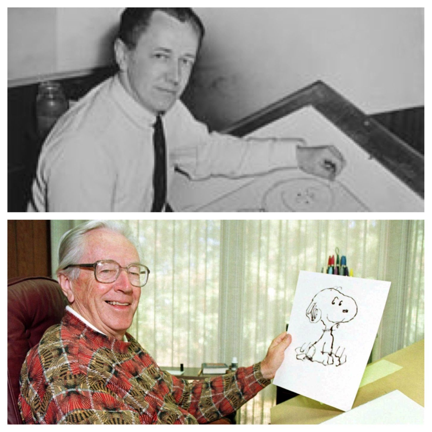 "The creator of ""The Peanuts"" Charles Schultz. Born in 1922 and he died in 2000 from colon cancer at age 77. One of his final Peanuts cartoon was ""It's the pied piper Charlie Brown"" cause it came out a few months after he died."