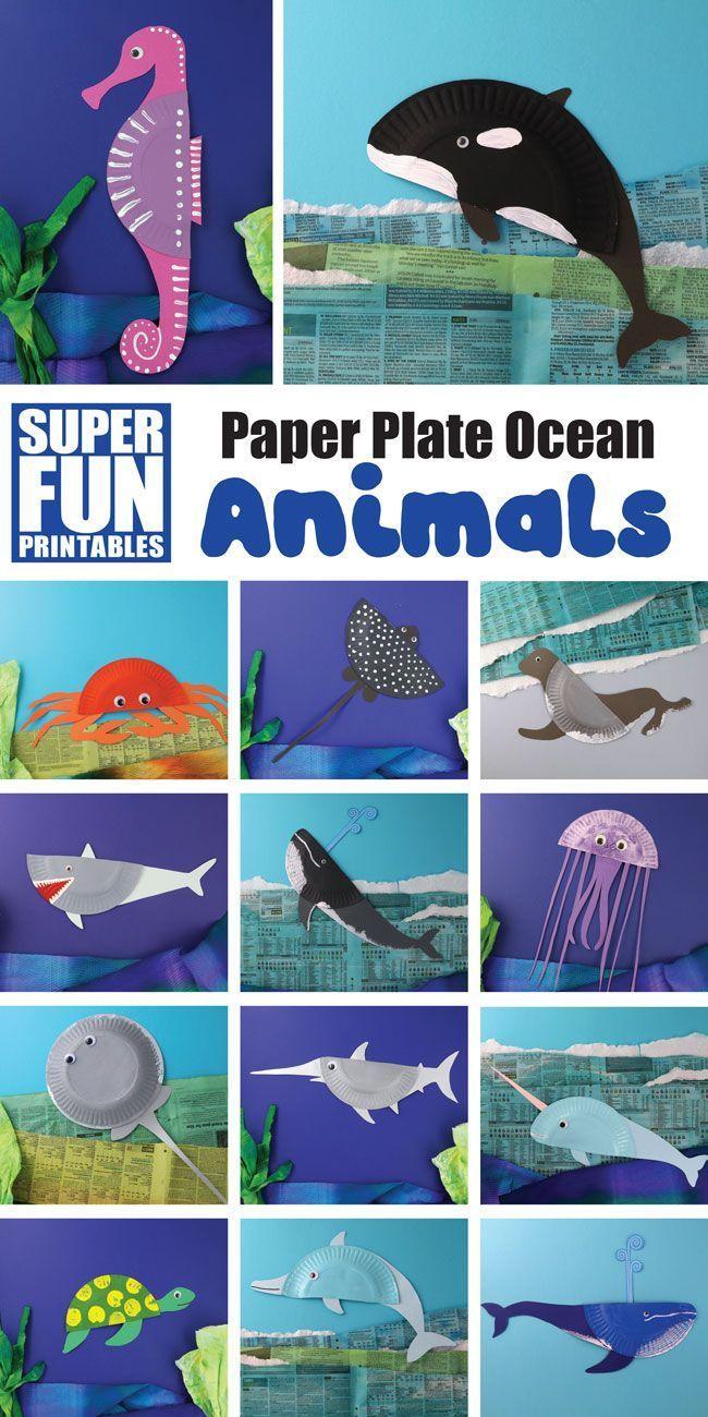 DIY Bastelideen mit Pappteller Meeres Tiere
