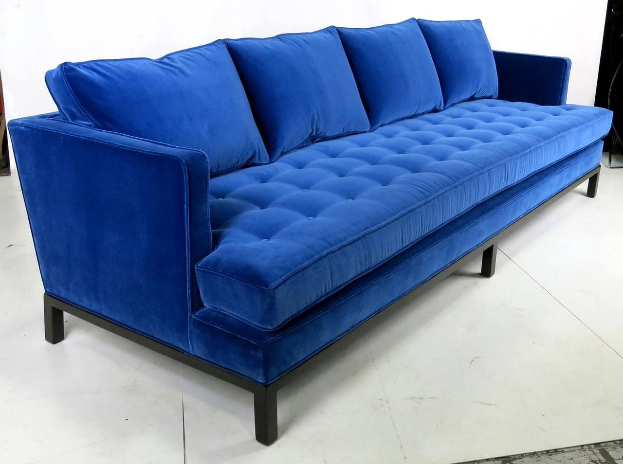 Surprising Harvey Probber Shelter Style Sofa In Cerulean Blue Velvet Gmtry Best Dining Table And Chair Ideas Images Gmtryco