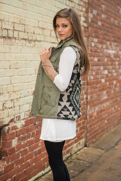 You can rock this vest indoors, outdoors or anywhere you please! It doesn't matter because wherever you are you're going to look trendy!  Material has no amount of stretch. Miranda is wearing the small. Sizes fit: Small- 0-4; Medium- 6; Large- 8-10