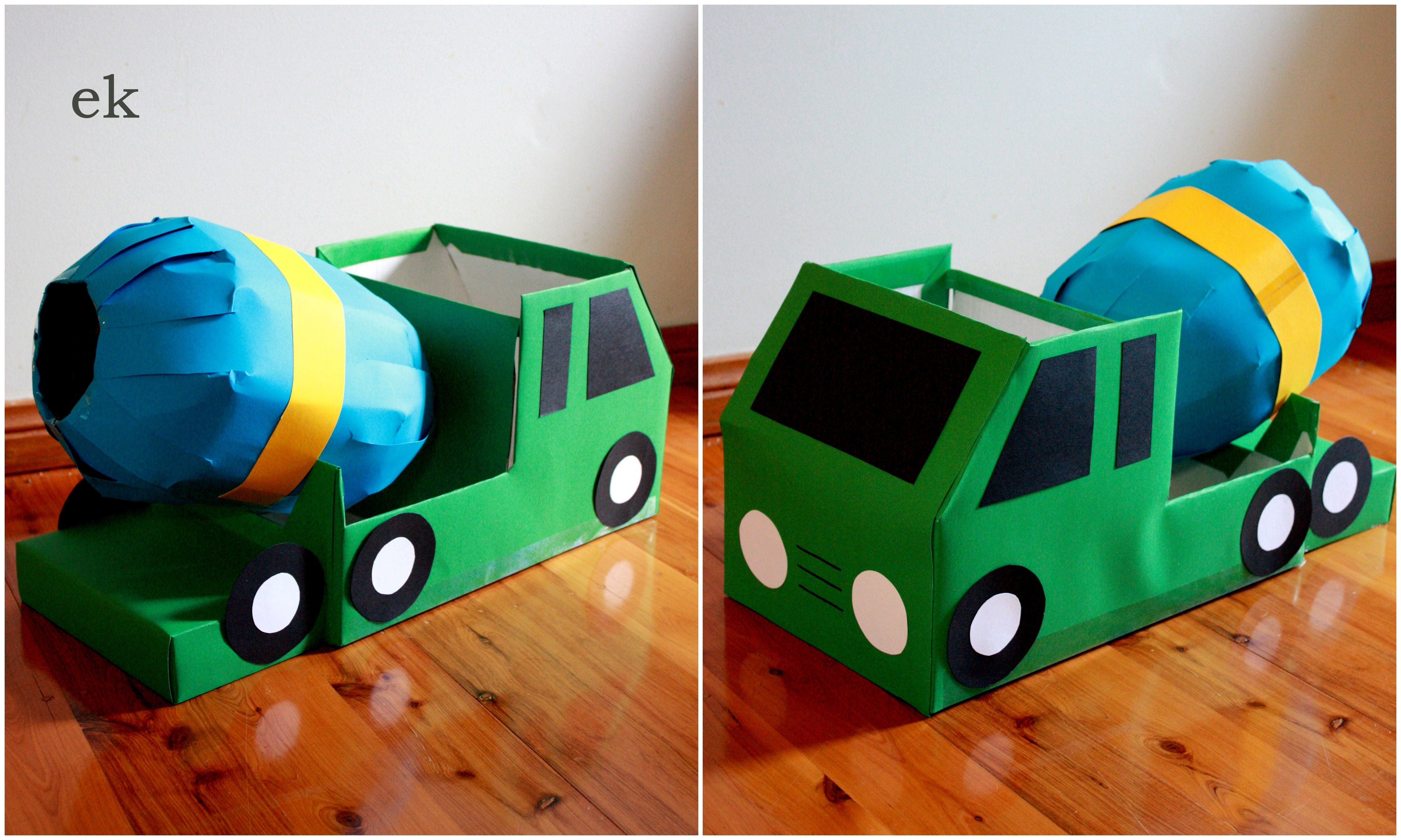 Box Cement Mixer Truck Crafts Cardboard Boxes Kids Homemade Toys
