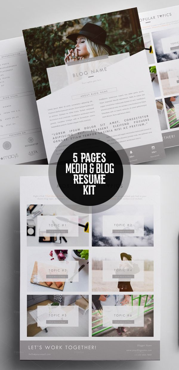 Elegant 5 Pages Media Kit Template + Proposal Letter Press