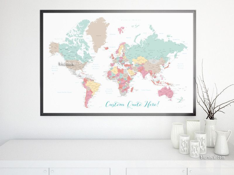 Custom quote - printable world map with cities, capitals, countries ...
