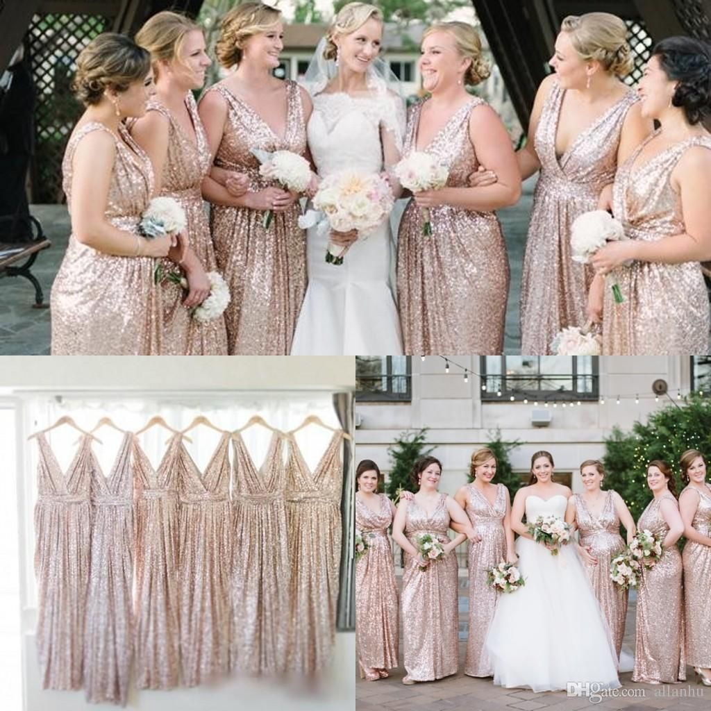 2016 gold champagne bridesmaids dresses sequins v neck plus size 2016 gold champagne bridesmaids dresses sequins v neck plus size custom made maid of honor cheap ombrellifo Choice Image