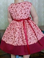 "Doll Clothes-Handmade-American Girl Dolls-Fits 18""-Flowers & Burgundy Dress."