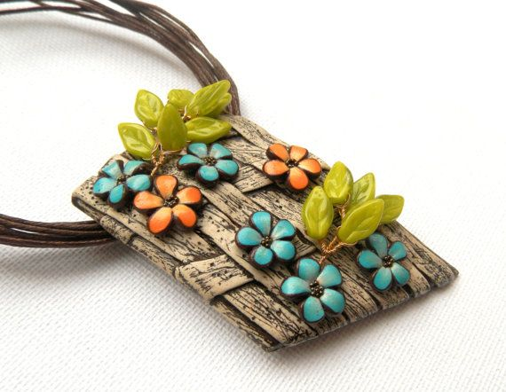 Flower jewelry - Handmade necklace - Faux wooden jewelry - Spring jewelry - Polymer jewelry