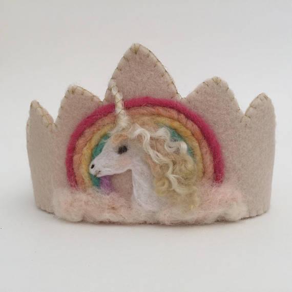 Items similar to Felt Crown , Birthday Crown, Waldorf Crown - Unicorn Rainbow on Etsy