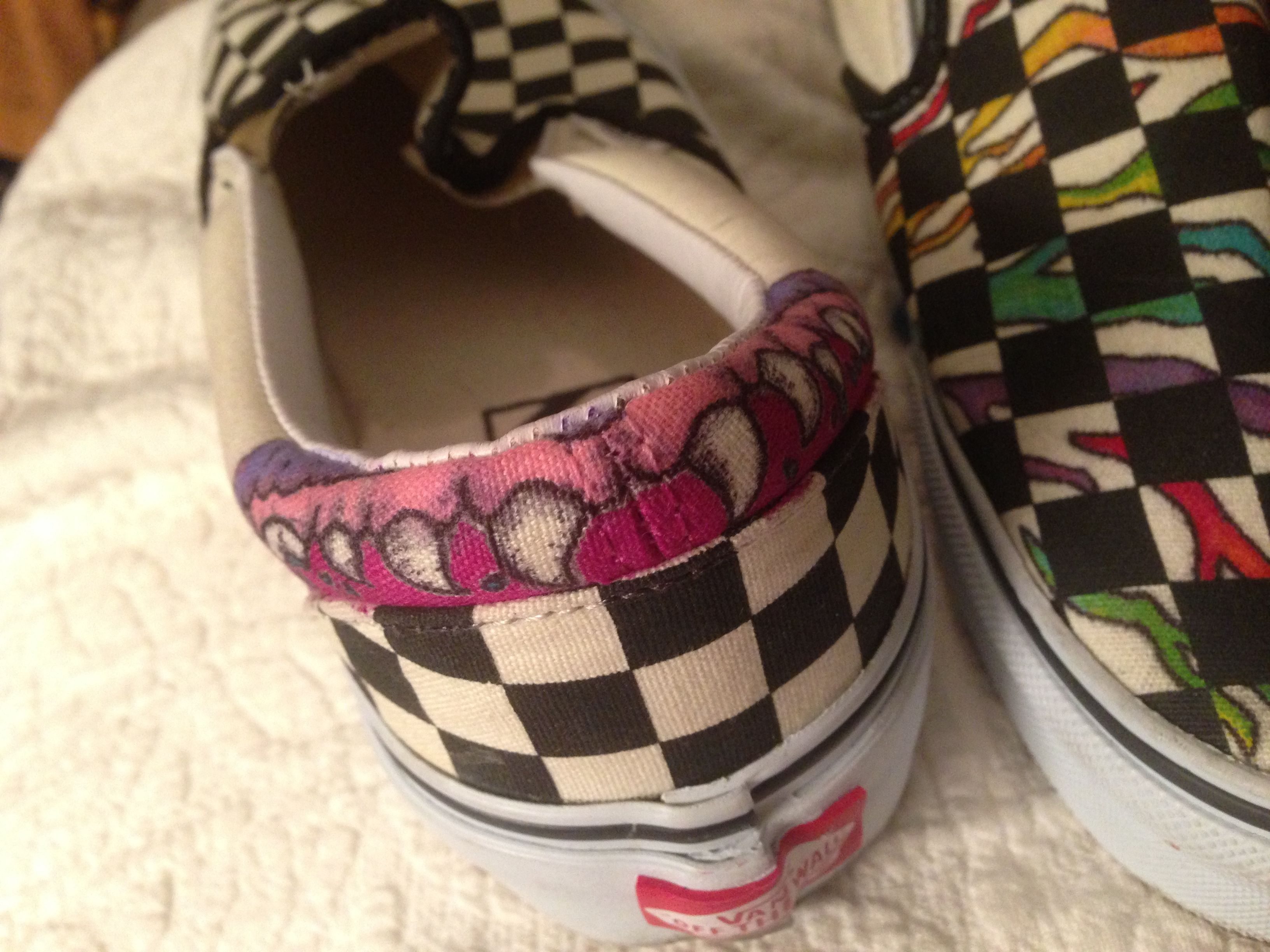 743aeab283ef1e sharpie doodling on black white checkered vans (in-progress)  sharpie  shoes   vans  rainbow  teeth  doodle  zebrastripes  zebra  rainbowzebra   checkeredvans