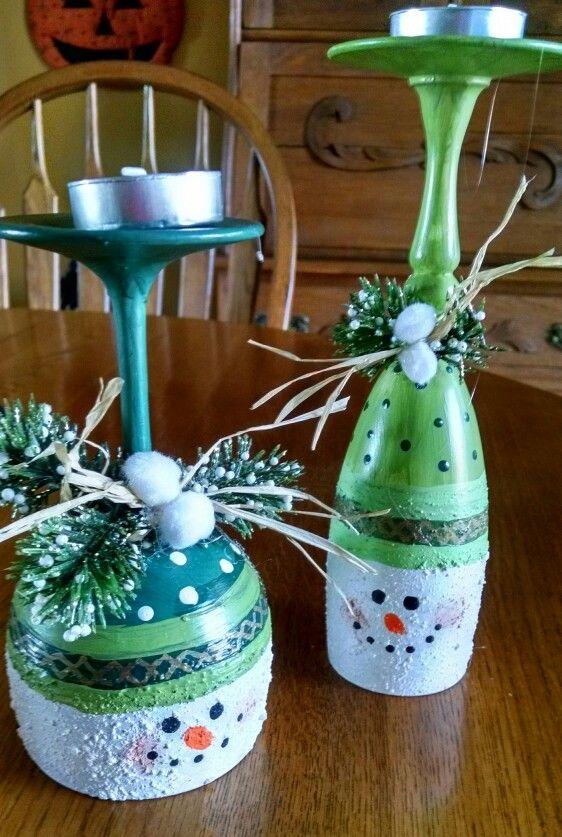 Wine Glass Snowmen Candle Holders Christmas Wine Glasses