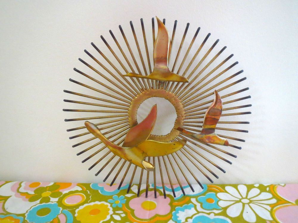 VTG 1970s MID Century Modern Seagulls Gold Starburst Metal Sculpture Wall  Art #MidCenturyModern