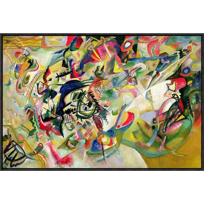 """Global Gallery 'Composition No. 7' by Wassily Kandinsky Framed Painting Print on Canvas Size: 20"""" H x 30"""" W x 1.5"""" D"""
